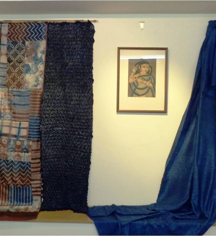 Indigo catechue dyed patch scroll and increcate indigo shibori at display during SUTRA conference exhibition 2014